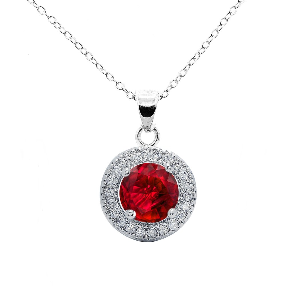 Cate & Chloe Mariah 18k White Gold Round Cut CZ Halo Gemstone Pendant Necklace - Cubic Zirconia Halo Cluster Necklace w/Red Ruby Solitaire Rhinestone Crystal - Wedding Anniversary Jewelry MSRP - $150