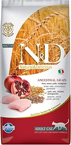 Farmina Natural Delicious Low Grain Chicken and Pomegranate Adult Cat, 11 lb Bag