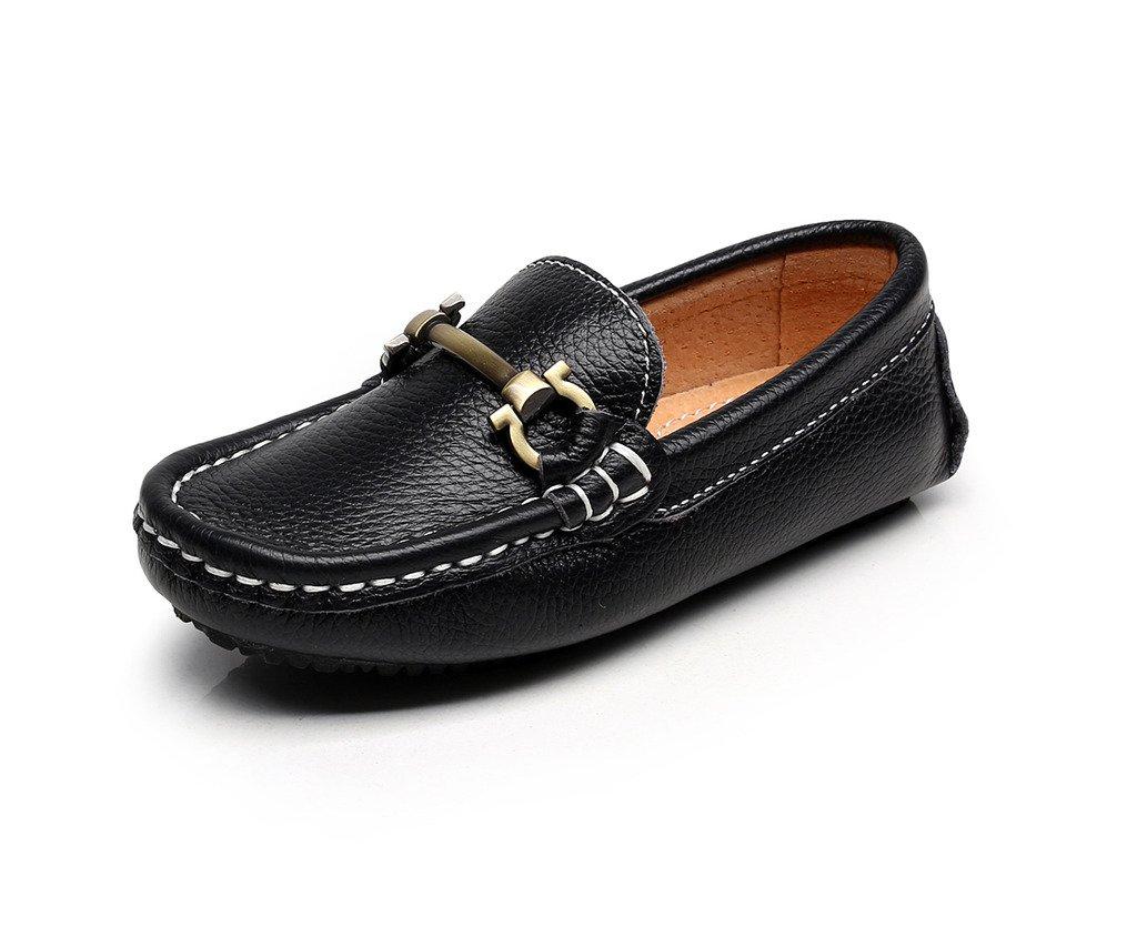 Shenn Boy's Girl's Slip On Buckle Dress Leather Loafers Shoes 8771K(Black,12.5 US Little Kid)
