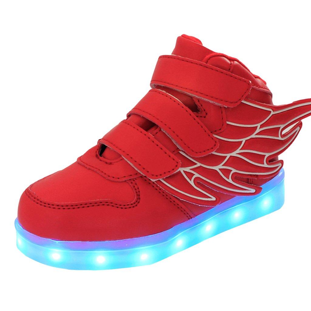 DoGeek -Basket LED Lumineuse Enfants Garçon Fille Chaussures -Securité Mode Haut Dessus 7 Couleurs Clignotants -USB Rechargeable FrKid-DG--Hwings-Red