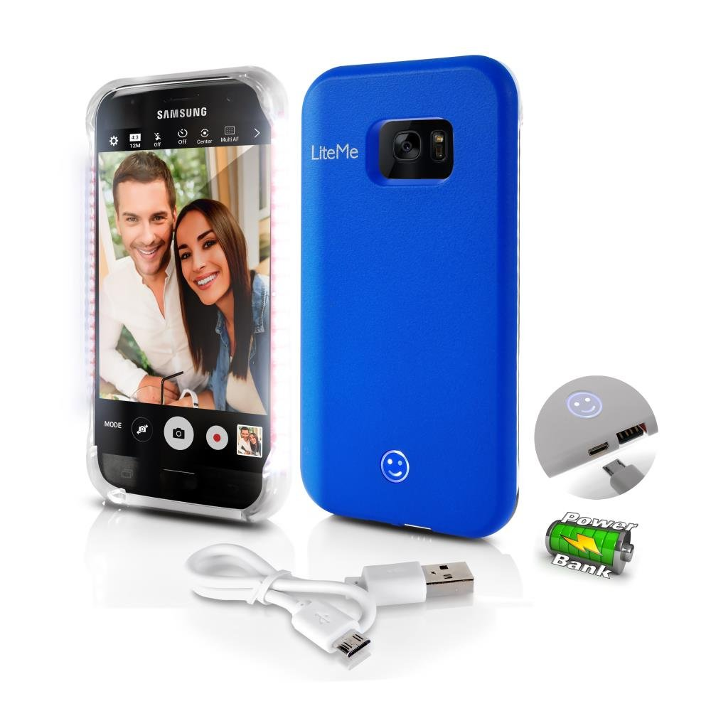 SL302S7BL Serene Life Liteme Phone Case Phone Protection with Built-in Power Bank /& LED Lights for Samsung Galaxy S7 Edge Lighted Phone Case Samsung S7 Galaxy S7 Edge Case Battery Blue