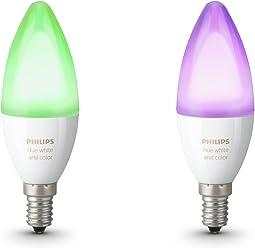 Philips Hue White & Color Ambiance E14 LED Kerze Doppelpack, dimmbar, bis zu 16 Millionen Farben, steuerbar via App, kompatibel mit Amazon Alexa (Echo, Echo Dot)