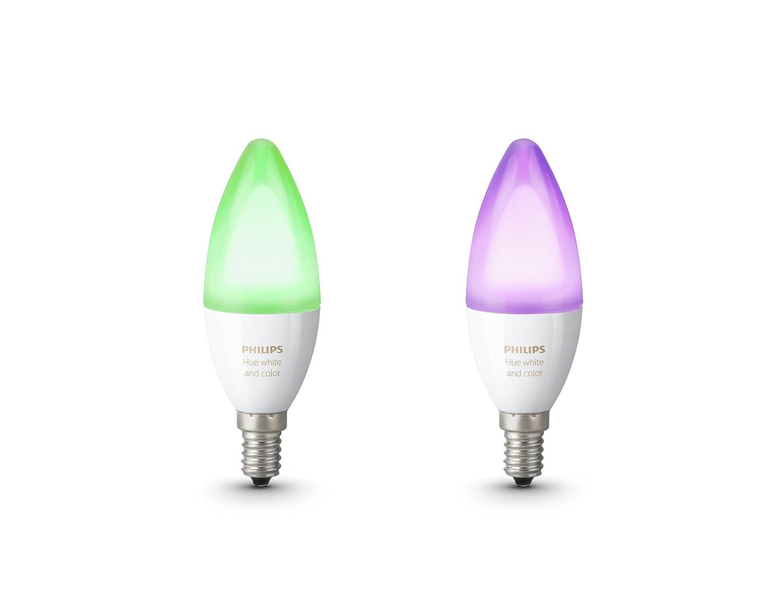 Philips Hue Weiß & Farbe Ambiance E14 LED Kerze Doppelpack, dimmbar, bis zu 16 Millionen Farben, steuerbar via App, kompatibel mit Amazon Alexa (Echo, Echo Dot)