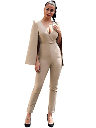 8e7a04fbfdb4 Glamaker Women s Formal Sleeveless Deep V Neck Bodycon Jumpsuit with Cape  Long Romper Pants Suit Khaki