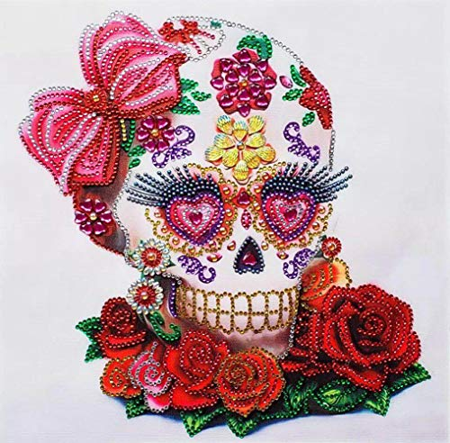 Aimilaly DIY 5D Special Shaped Diamond Painting by Number Kits, Floral Skull Full Drill Rhinestone Embroidery Cross Stitch Pictures of Crystals Dotz Kits Arts, Crafts & Sewing