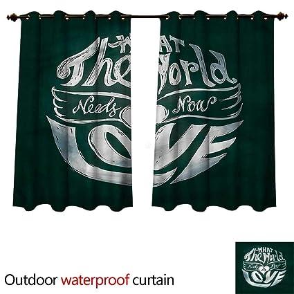 Amazon Com Cobedecor Quotes Outdoor Curtain For Patio World Needs
