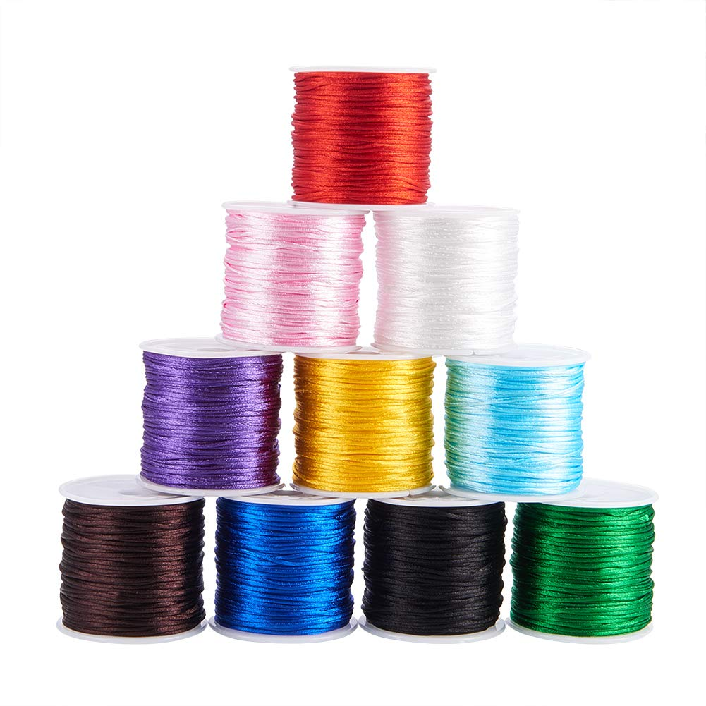 PH PandaHall 10 Colors 1mm Rattail Satin Nylon Trim Cord for Necklace Bracelet Beading Chinese Knot, 10 x 32.8yards by PH PandaHall