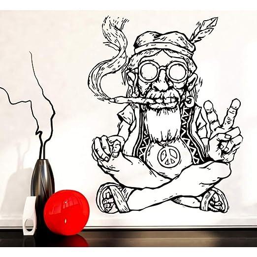 GJGFNJ Fumar Marihuana Marihuana Paz Pegatinas De Pared Extraíble ...