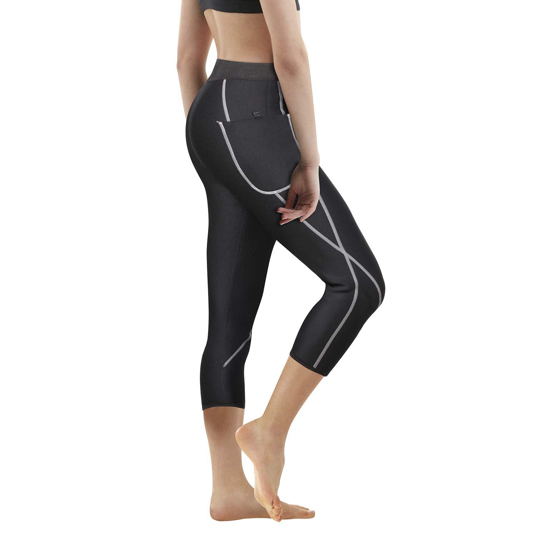 Women Neoprene Sauna Slimming Pants Hot Thermo Sweat Body Shaper Capri for Weight Loss Burning Fat (Black, S)