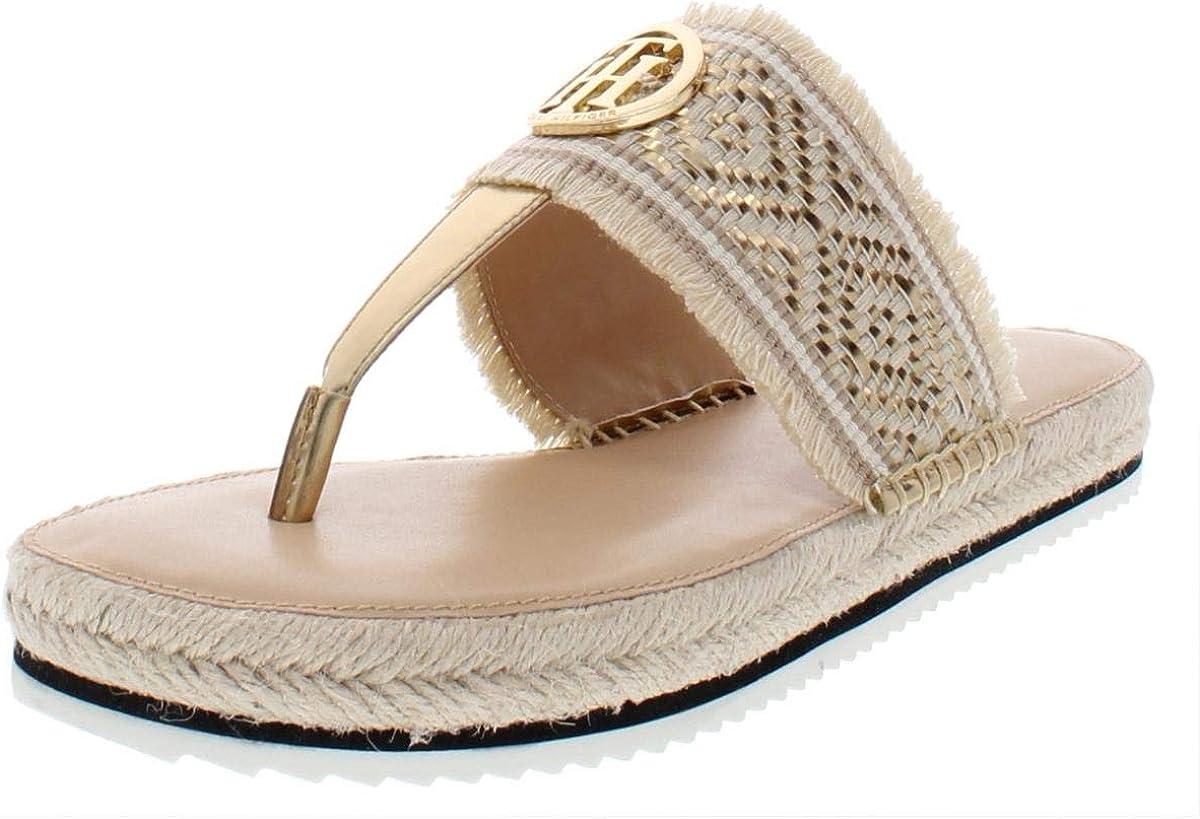 B07ZHQXXQD Tommy Hilfiger Womens Nazia Metallic Espadrille Flatform Sandals 617lc1b9WqL