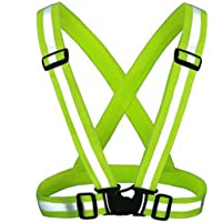 KING DO WAY Adjustable Reflective Running Gear Safety Vest Waist Belt Stripes Jacket High Visibility for Outdoor Jogging, Cycling, Walking, Motorcycle Riding and Running