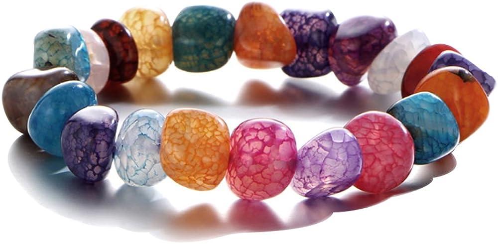 Pulsera de Piedra Natura de Mujer Hombre Unisex,Pulsera de curación Reiki Charme Chakra ,Cuentas Pulseras De Cadena Multicolor Pulsera