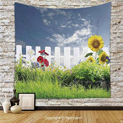 FashSam Polyester Tapestry Wall Grass Foliage Field with Sunflowers Daisy Hedge Fence Yard Jardin Hanging Printed Home -