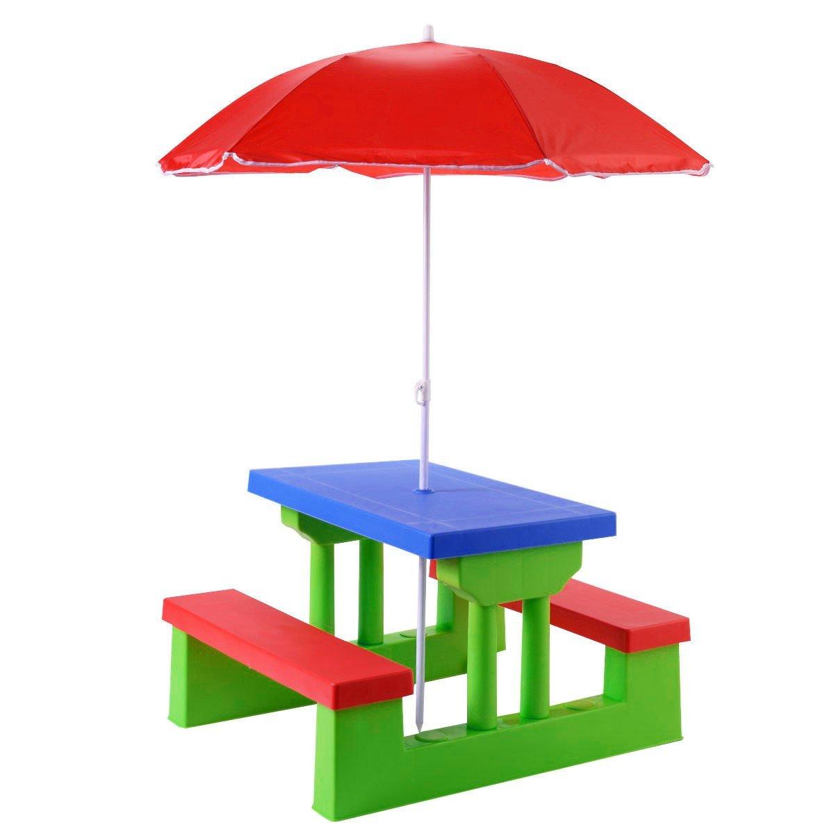 Patio Set Kids Picnic Table Bench Umbrella Perfect Outdoor / Indoor Children Garden Furniture & e-Book jn.widetrade