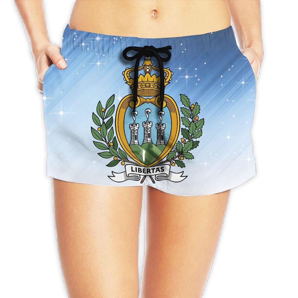Coat of Arms of San Marino Women Fashion Sexy Quick Dry Lightweight Hot Pants Waist Beach Shorts Swimming Trunks