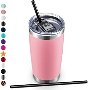 ALOUFEA 20oz Stainless Steel Tumbler with Lid and Straw, Vacuum Insulated Tumbler Cup, Double Wall Coffee Tumbler, Powder Coated Travel Coffee Mug, Pink