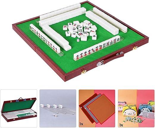 Mahjongg mini portátil de 144 fichas de mahjong Juego Mah Jong Tabla tradicional juego al aire