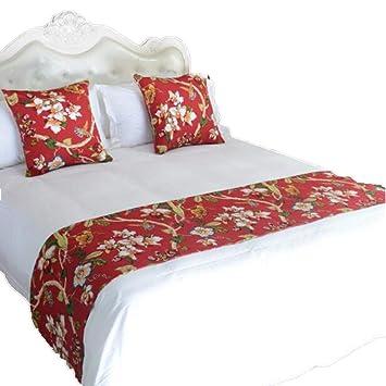 Amazon.com: YIH Camino de bufanda para pies de cama rojo ...