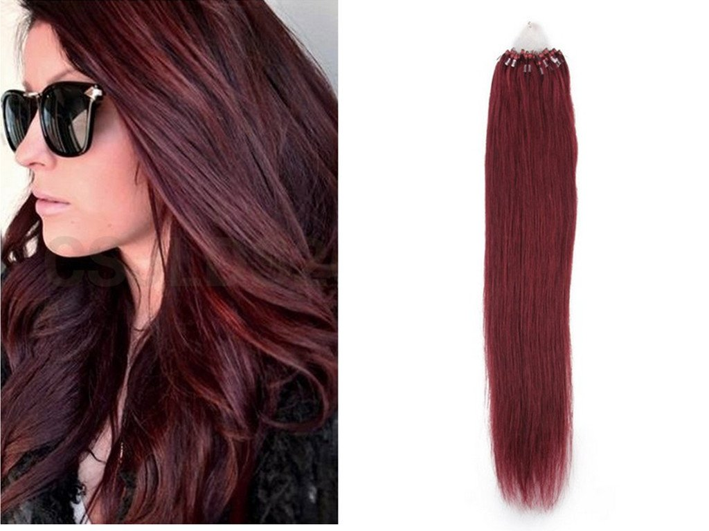 18 Ring Remy 100 Hair Extensions Loop Micro 99j Deep Dark Red
