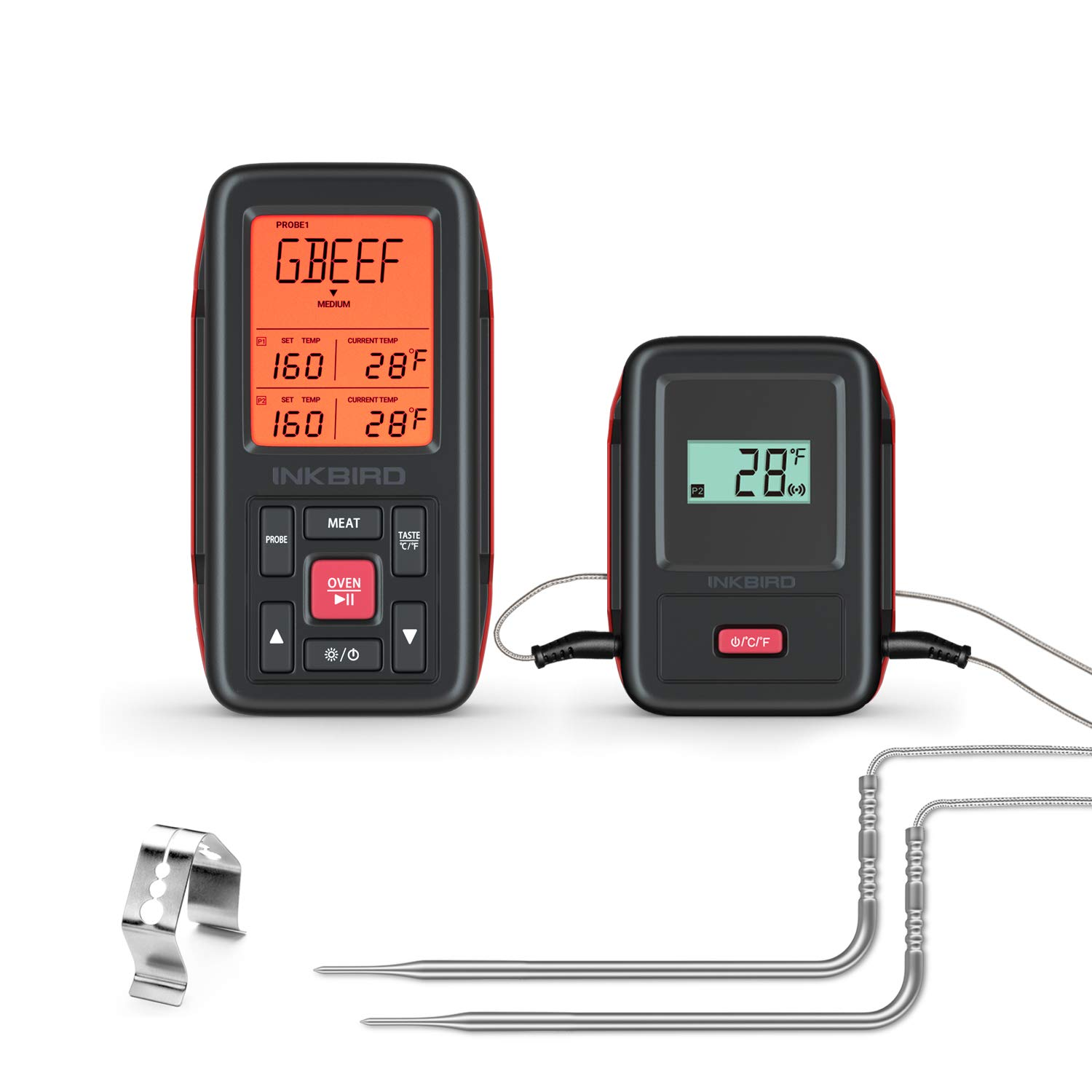 Inkbird IRF-2SA 500ft Wireless Remote Grill Thermometer, Digital Cooking Meat Thermometer with Backlight, Alarm, Timer Food BBQ Thermometer for Smoker, Roasting, Kitchen, Oven, Drum, Dual Probes by Inkbird