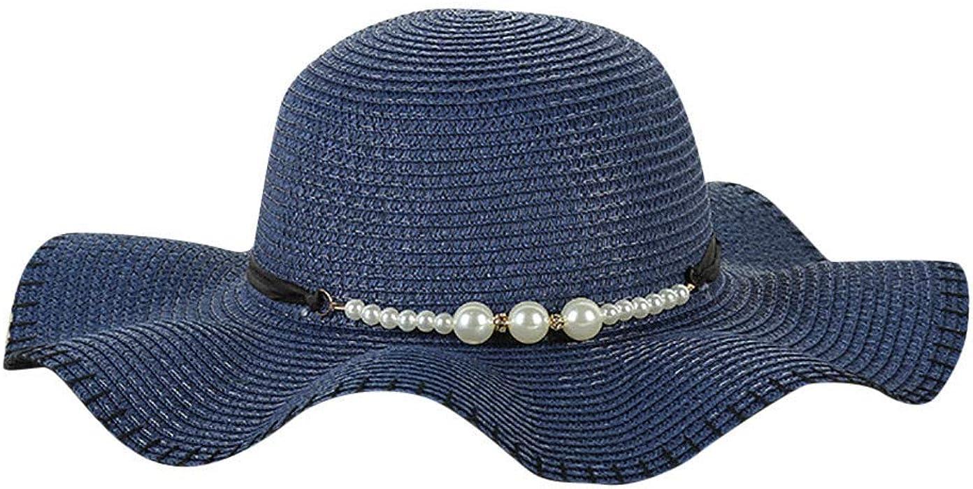 Staresen Sombrero Playa de Verano Sombrero de Perla Sol Plegable Hueco  Suave ala Ancha Sombrero Visera para Mujeres para Mujer Floppy Plegable  Gorra de ... 83467ddf4c2