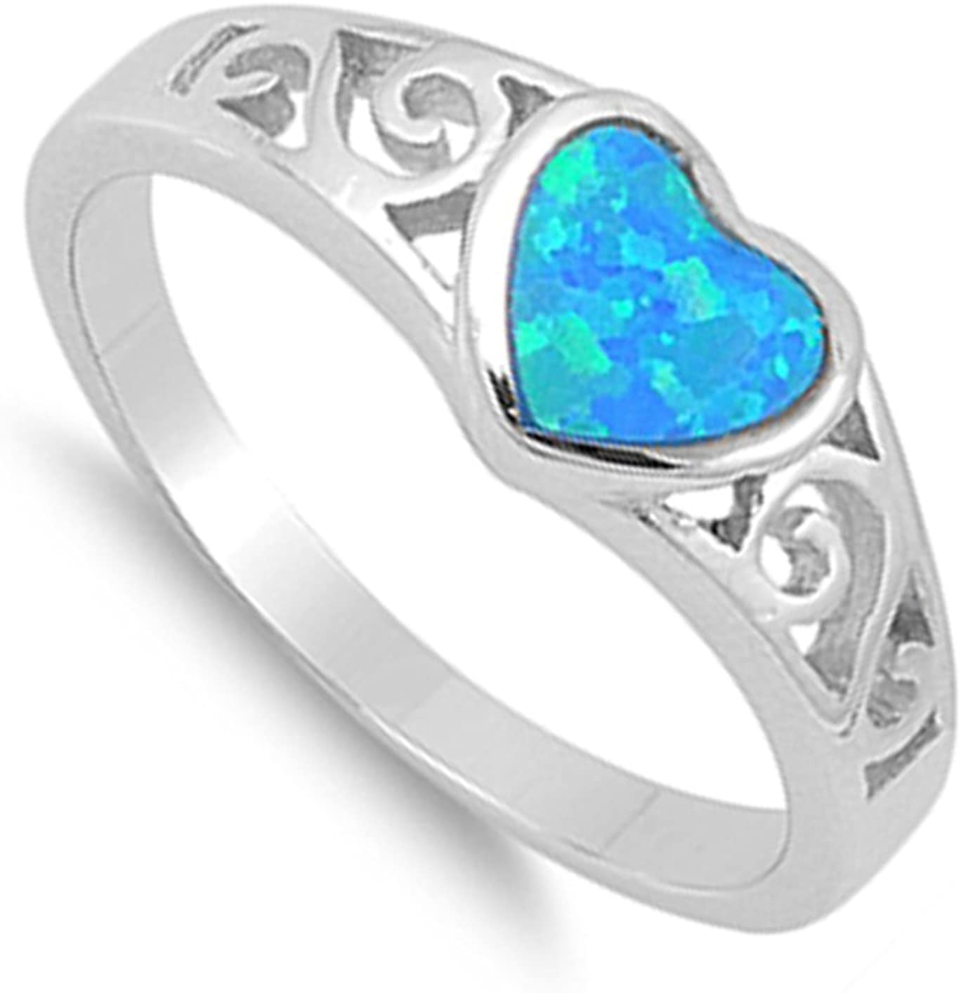 CHOOSE YOUR COLOR Sterling Silver Filigree Heart Promise Ring