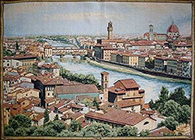 Charlotte Home Furnishings 7894-11023 View Of Florence And The Arno Tapestry Cushion Wall Hanging - Beige, Green, H 24 x W 34