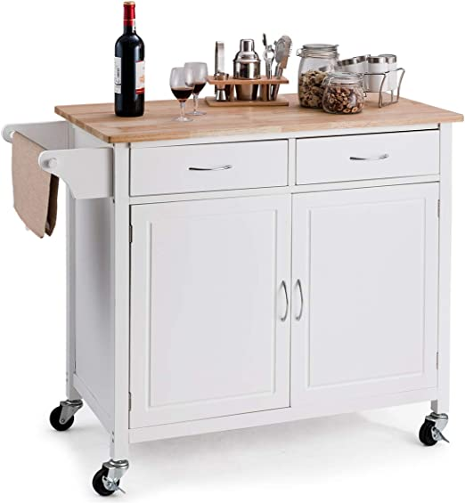Giantex Portable Kitchen Rolling Island Cart Wood Table Top Island Serving  Utility Kitchen Storage Trolley Carts W/Cabinet &Drawer (White)