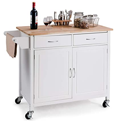 Giantex Portable Kitchen Rolling Island Cart Wood Table Top Island Serving Utility Kitchen Storage Trolley Carts W Cabinet Drawer White