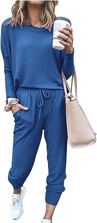 Femme sweat femme de détente sport épaule poche bouton Survêtement Set