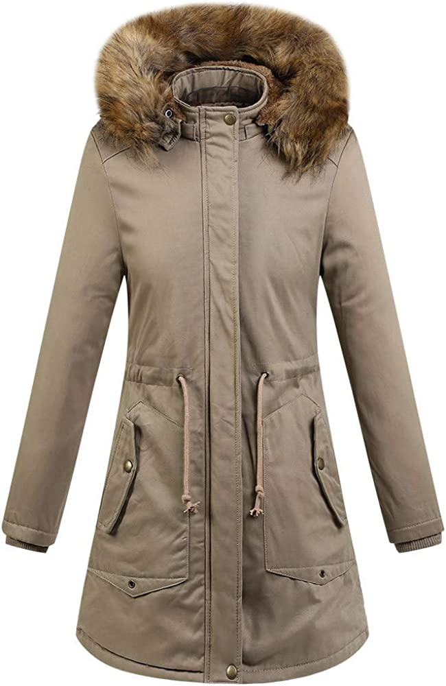 JOFOW Womens Coat New Winter Solid Faux Fur Collar Hat Parkas Long Casual Belted Strappy Padded Quilted Jacket Warm Cardigan