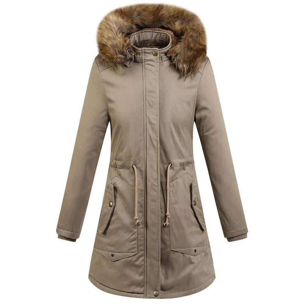 Khiki BETTERUU Women Winter Warm Thick Outerwear Hooded Coat CottonPadded Jacket Plus Size