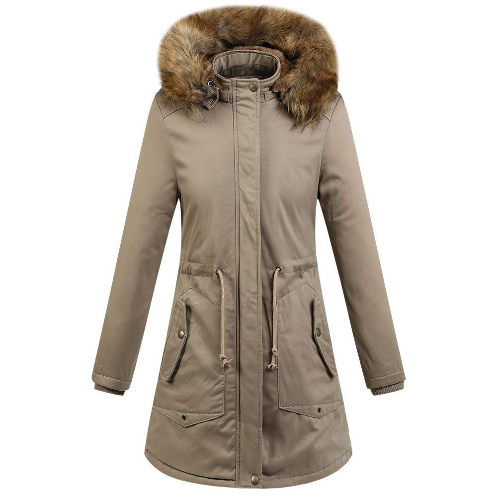 UONQD Womens Faux Fur Winter Jacket Parka Hooded Coat Fishtail Overcoat (Large, Khiki)