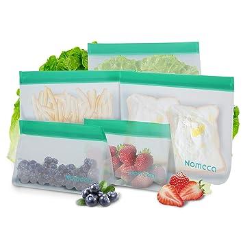Nomeca Bolsas de Almacenamiento de Alimentos Reutilizables 5 Bolsas Sándwich y Merienda Portátil Doble Zip Bolsas Comida Hermeticas para Almuerzo ...