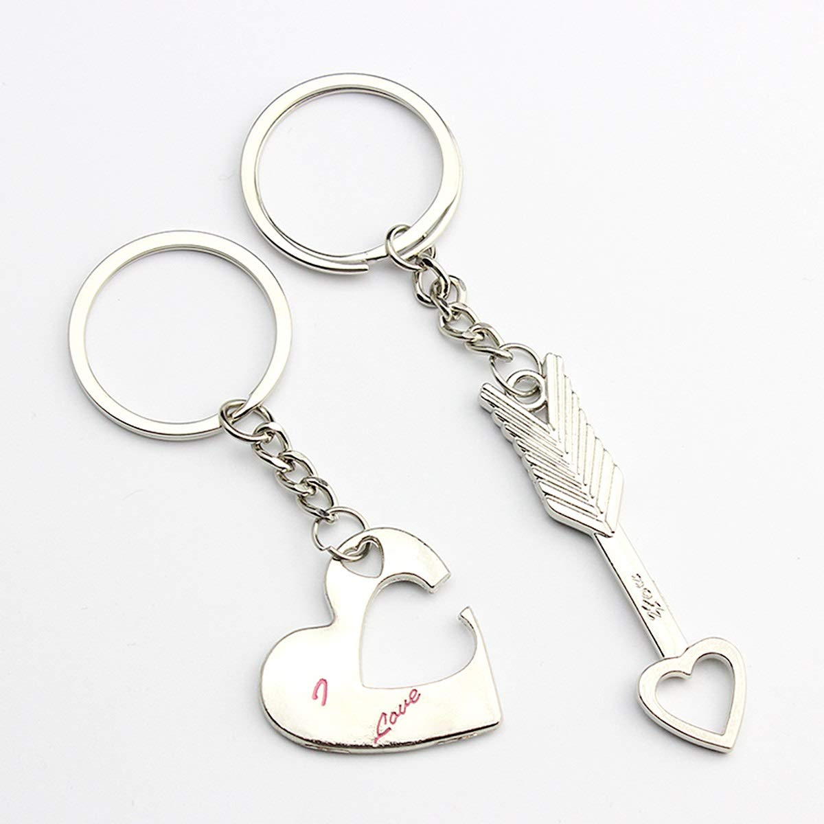1 Pair Lovely Mini Jupiter Heart Key Lover Keychain Key Ring for Lovers Couple Tabpole