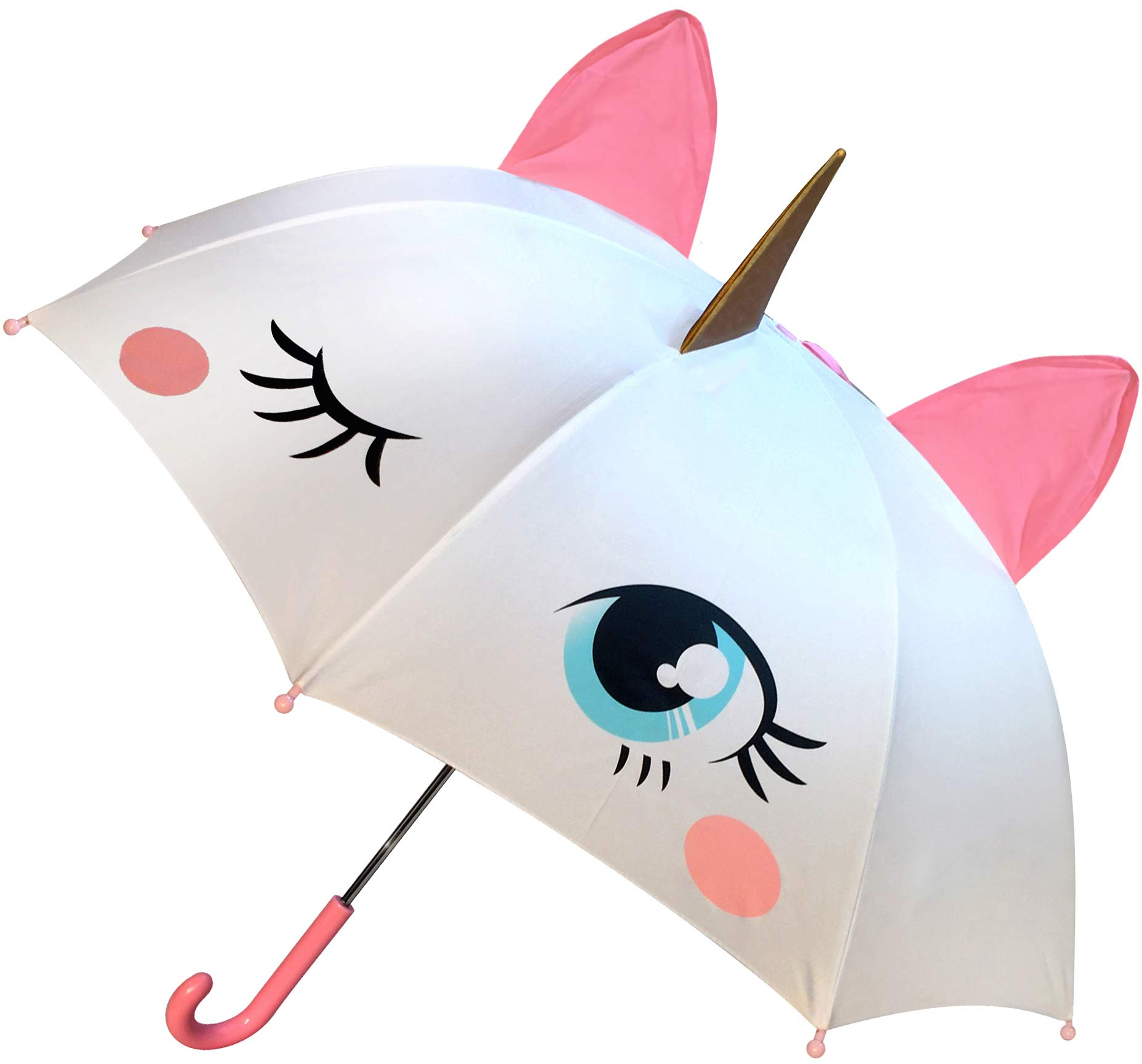 Unicorn Umbrella for Girls, Magical POP-OUT Golden Horn & Pink Ears, Easy To Open & Close, Great Gift & for Back to School Kids of all ages! by luluburd