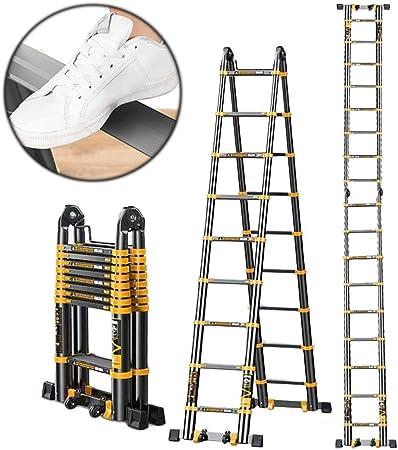 Escalera telescópica Extensión Telescópica De Aluminio, 16.5 Pies, 5M, Escalera Plegable Portátil Ligera De Marco En A, Multiuso, Negro, Carga 330 LB: Amazon.es: Hogar