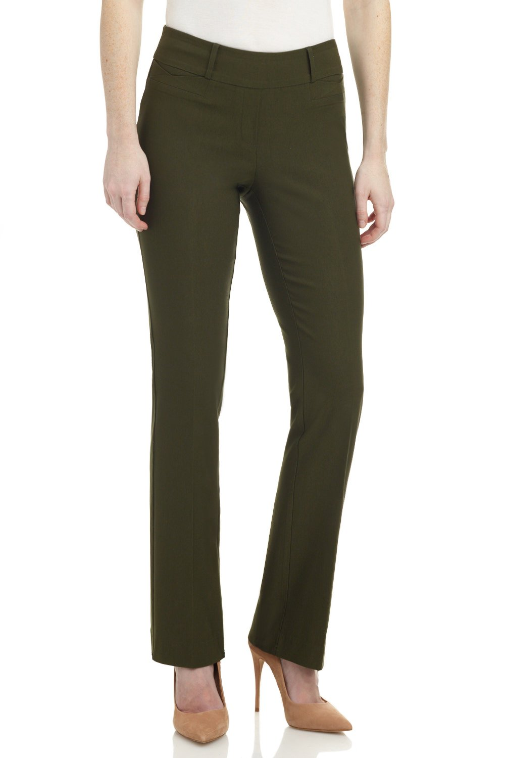 Rekucci Women's Ease In To Comfort Fit Barely Bootcut Stretch Pants (18,Olive)