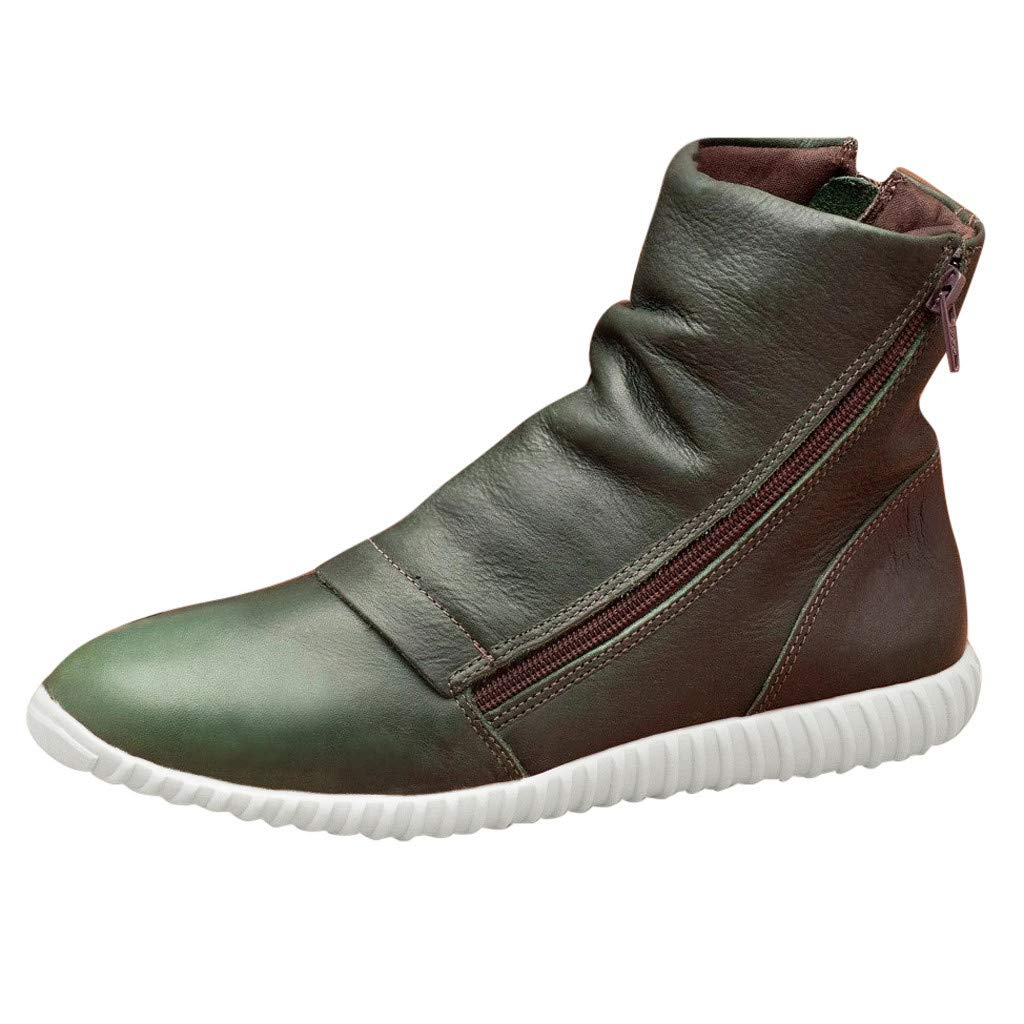 Women's Casual Flat Leather Retro Ankle Boots Side Zipper Round Toe Shoes Bootie, Green, 7.5 M US by OcEaN Shoes