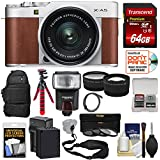 Fujifilm X-A5 Wi-Fi Digital Camera & 15-45mm XC Lens (Brown) 64GB Card + Battery & Charger + Backpack + Tripod + Flash + Tele/Wide Lens Kit