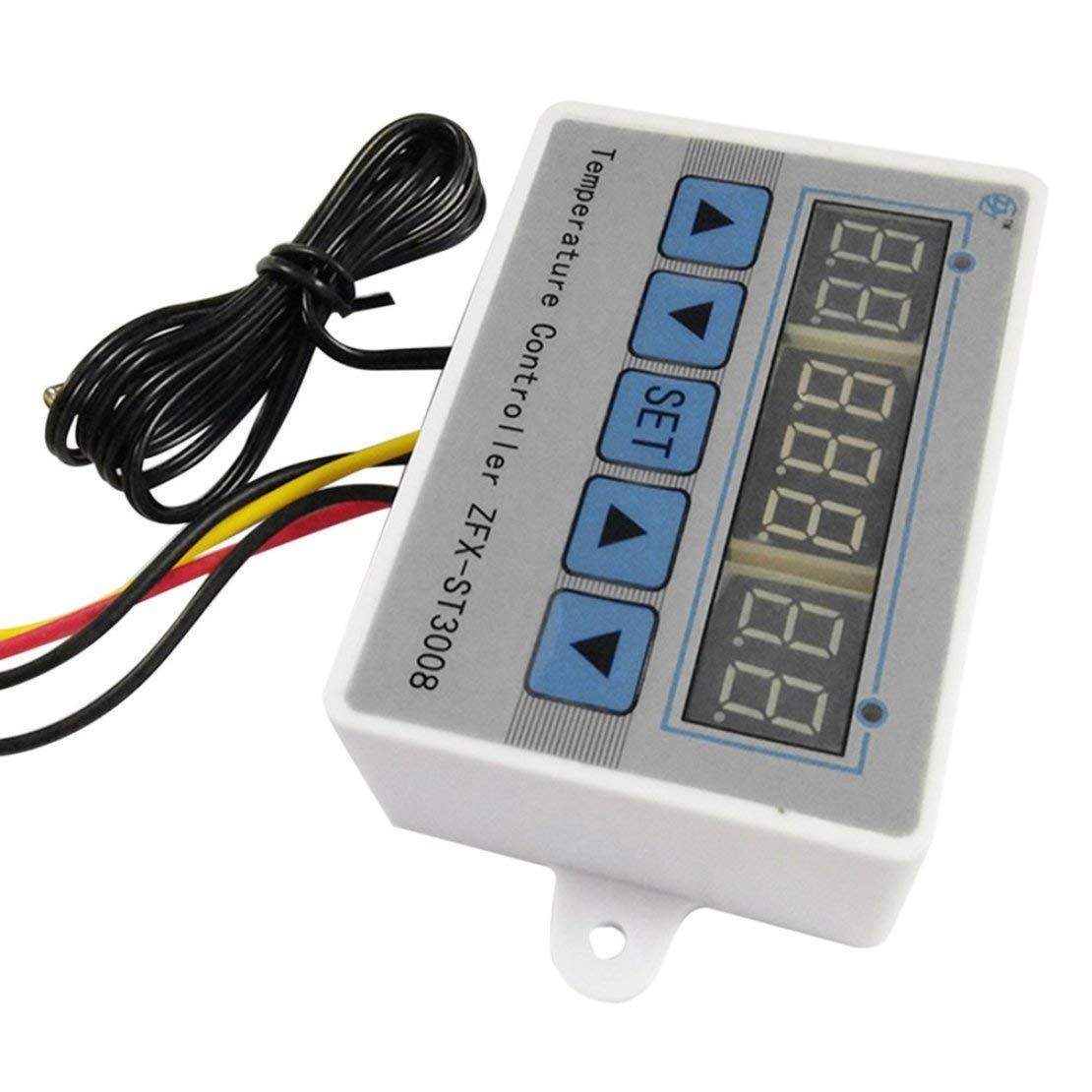 ZFX-ST3008 Interruptor de Control de Temperatura multifunci/ón Controlador de Temperatura termostato Digital Inteligente Tres Pantalla