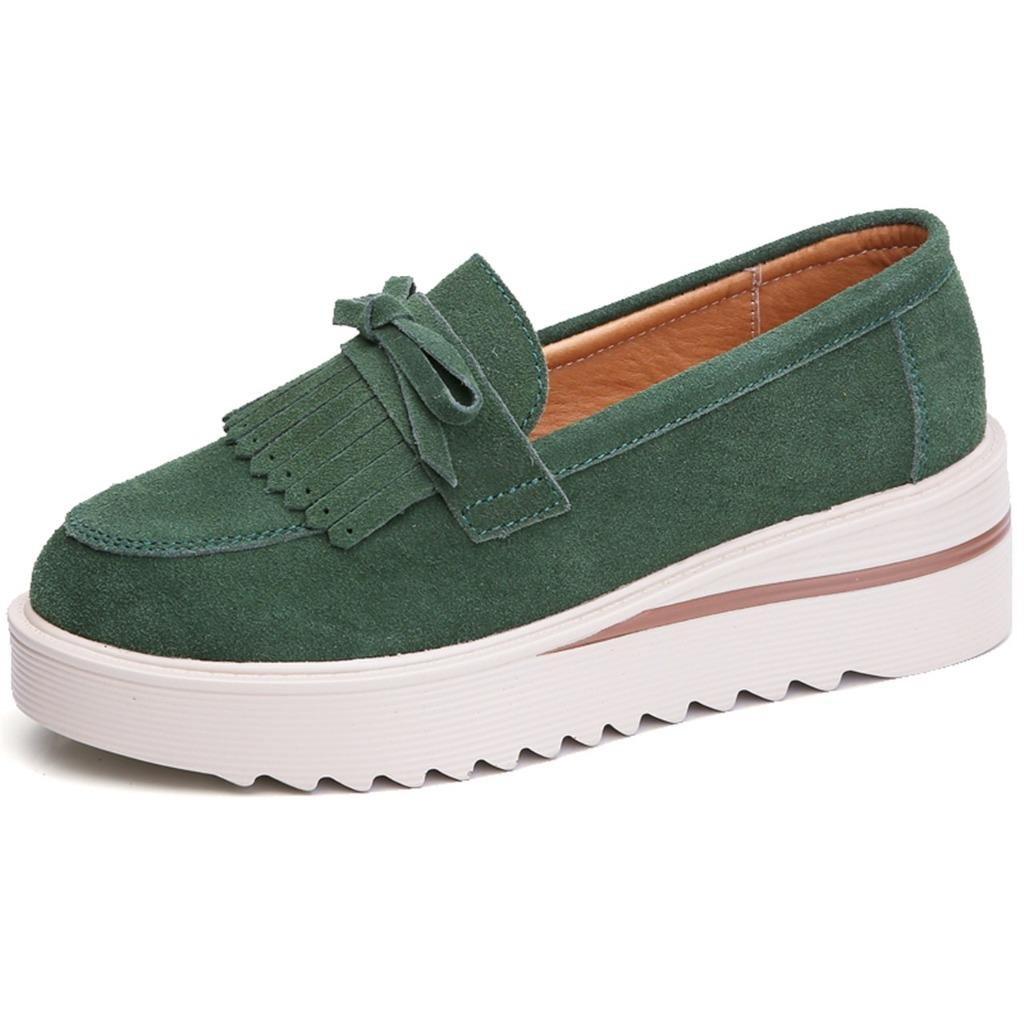 TRULAND Women's Suede Leather Slip-on Comfort Wedge Platform Fringe Moccasins (7.5 D(M) US,Green)