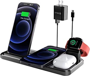 Wireless Charger, Coobetter 4 in 1 Wireless Charging Station with Adapter, Wireless Charging Stand for Air Pods Pro,Watch, Compatible with iPhone 12/12 Pro/12 Pro Max/XS/XS Max/XR/X / 8 /8P(Black)