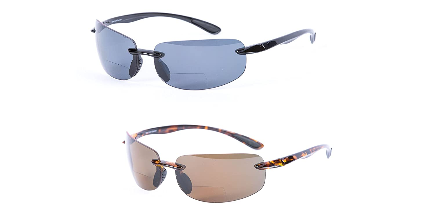 2 Pair of Maui Sunshine Bifocal Sunglasses Lightweight TR90 Frames for Men and Women. Polarized and Non Polarized Available. (Non Polarized - Black/Tortoise, 3.0)
