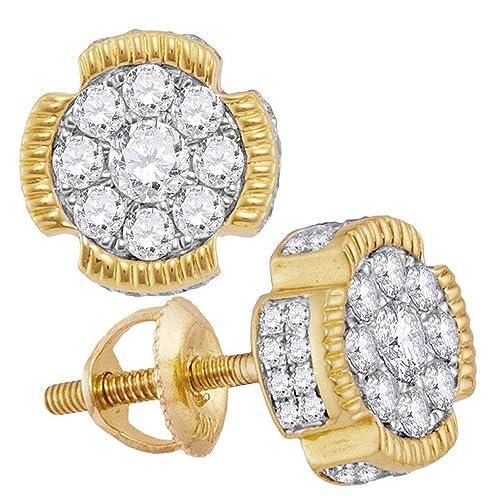 040c683e3e80 Jewels by Lux - Pendientes de oro amarillo de 10 quilates para hombre con diamantes  redondos y flores