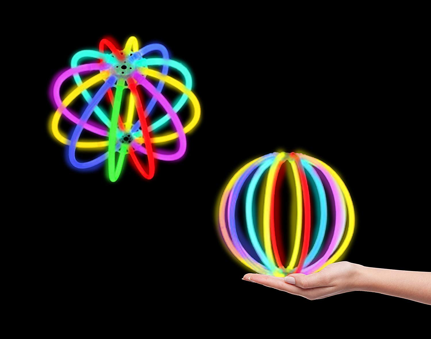 Ball and Glowing Ear Headband Fun Central BC905 Glow Party Favors Glow Cap Halloween Party Supplies Hora Loca Party Supplies 100 Pcs 8 Inches Glow Stick Party Pack Eyeglasses