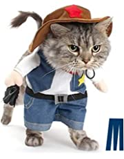 Mikayoo Christmas costumes,The Cowboy for Party Christmas Special Events Costume,West CowBoy Uniform with Hat,Funny Pet Cowboy Outfit Clothing for dog cat(2)