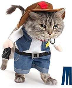 Mikayoo Pet Dog Cat Halloween Costumes,The Cowboy for Party Christmas Special Events Costume,West Cowboy Uniform with Hat,Funny Pet Cowboy Outfit Clothing for Dog cat