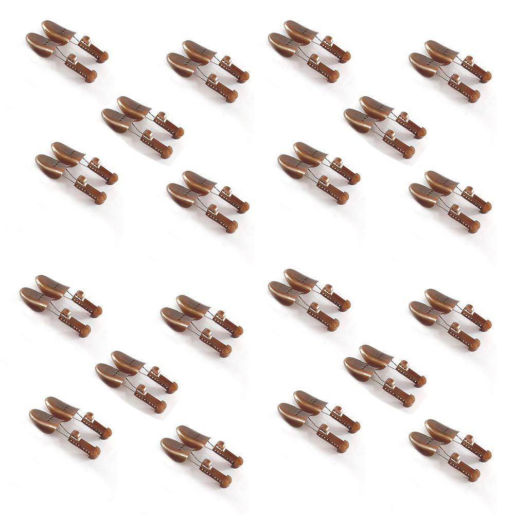 Women Shoe Tree Stretchers Practical Plastic Adjustable Length Shoe Organizers Spring Shoe Stretchers (Brown 20 Pack)