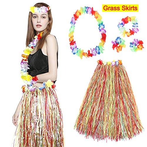 WELOVE Elastic Hawaiian Hula Dancer Luau Grass Skirt With Flower Costume Set For Adult For Kids (30cm, colorful)